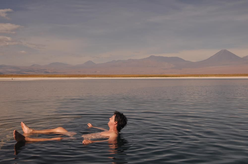 Man floating in the Great Salt Lake