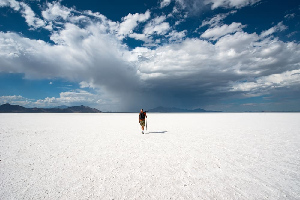 Man walking on Bonneville Salt Flats