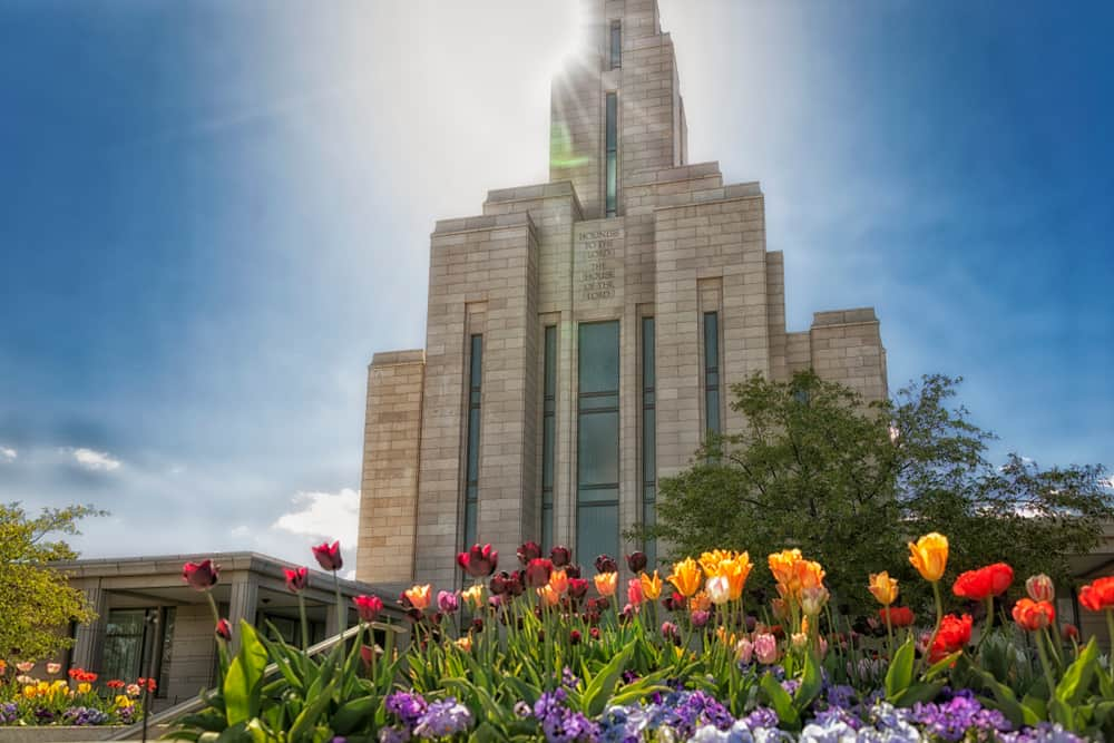 Oquirrh Mountain Utah Temple with flowers
