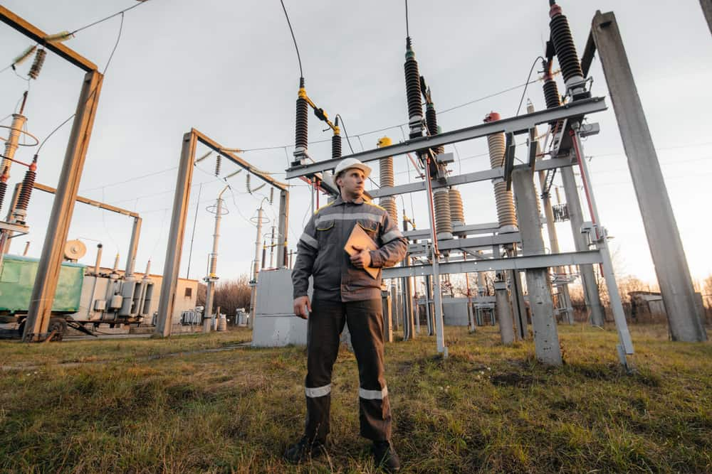 Electric worker at a substation